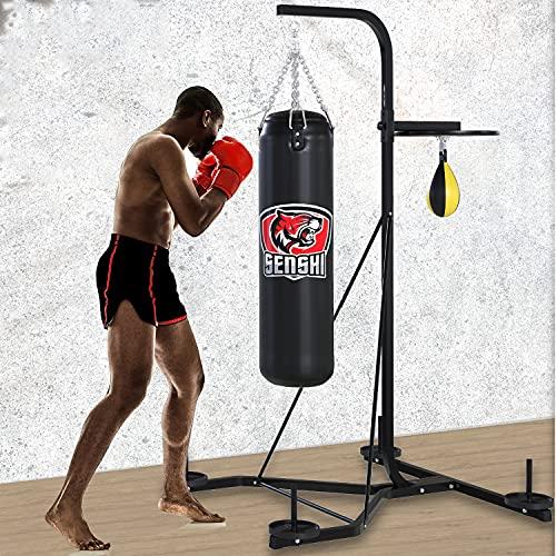 Senshi Japan Free Standing Punch Bag & Speedball Boxing Frame Stand Station, Comes With Weather Proof Punch Bag And Leather Speed Ball - Boxing Freestanding Punchbags Platform (Filled Punch Bag, 4 Ft)
