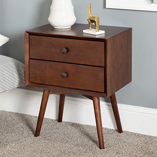 Eden Bridge Designs Nachttisch mit 2 Schubladen, Kiefer, Nussbaum, 50.8 x 35.56 x 60.96 cm