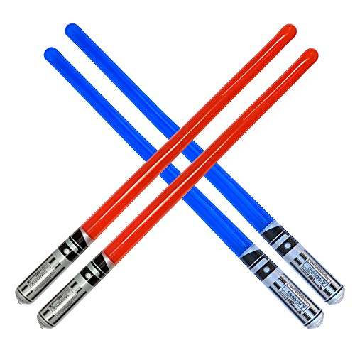 megasumer Pack of 4 Inflatable Light Saber Sword Toys - 2 Red and 2 Blue Lightsabers - Pool, Beach, Party Favors, LARP. Great Give Aways, or Christmas Stocking Stuffer!