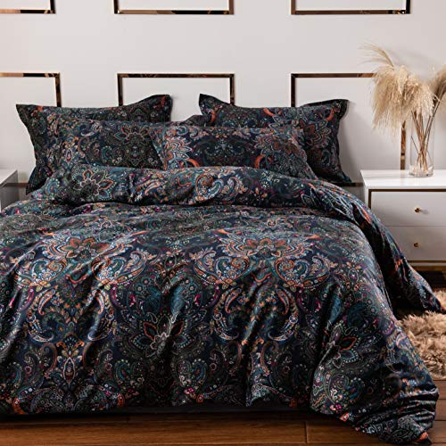 Softta Vintage Paisley Bedding Sets 3Pcs Duvet Cover Set King Size Rustic Damask Black Quilt Cover Floral 100% Brushed Cotton Zipper Closure Boho Bedding Collections