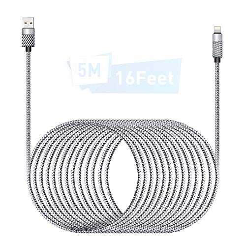 Cable Cargador iPhone 5M/16Ft MFI Cable Lightning Carga Rápida Trenzado de Nylon Cargador iPhone Compatible con Apple iPhone 11 XS MAX XR X 8 Plus 7 Plus 6S 6 Plus 5 5C SE