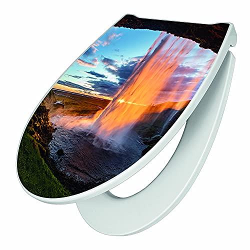 banjado Premium WC-Sitz mit Softclose Absenkautomatik   hygienischer Toilettendeckel mit Edelstahl Scharnier   Design Klobrille Duroplast Top Qualität mit Motiv Wasserfall im Sonnenlicht