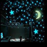 Pegatinas de pared luminosas, 101 pegatinas 3D que brillan en la oscuridad para niñas y niños, hermosas pegatinas de pared (estrellas azules y luna)