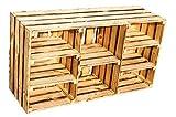 grosse Regalkiste 'Heino' natur / geflammt mit 5 Einlageböden / Zwischenbrettern ca 93x30x50cm TV-Schrank Kommode Schuhregal Apfelkiste Ablageregal Aufbewahrungskiste (Geflammt)