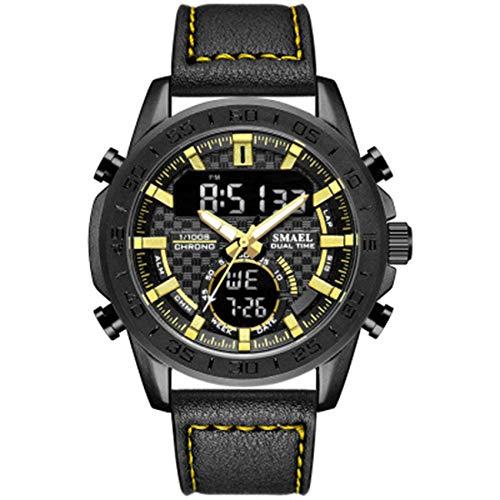 NLRHH Mira la Correa Exterior Impermeable Reloj Deportivo Multifuncional de Piel Reloj electrónico de los Hombres Peng (Color : B)