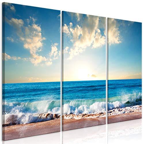 decomonkey Bilder Strand Meer 135x90 cm 3 Teilig Leinwandbilder Bild auf Leinwand Vlies Wandbild Kunstdruck Wanddeko Wand Wohnzimmer Wanddekoration Deko blau Sonne Himmel