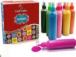 CraftVatika Rangoli Colour Powder Tube Kit Diwali Decoration Items Bottles Tool Floor Art Rang for Home Navratri Pongal...