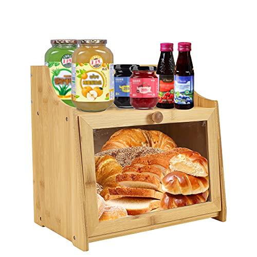 Bread Box,2 Layer Large Capacity Wood Bread Bin for Kitchen, Bread...