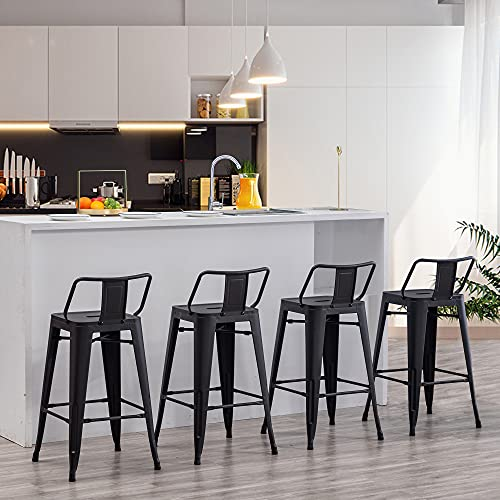 Apeaka 30 inch Metal Bar Stools Set of 4 Counter Height Stools with Backs Low Back Bar Chairs for Indoor-Outdoor Matte Black