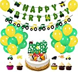 60Pcs Farm Tractor Theme Party Decorations Tractor Happy Birthday Banner Tractor Garland Cupcake Toppers Balloons Green Tractor Party Supplies for Girls Boys Kids 1st 2nd 3rd 4th Birthday Decoration