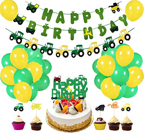 60Pcs Farm Tractor Theme Party Decorations include Tractor Happy Birthday Banner Tractor Garland Cupcake Toppers Balloons Green Tractor Construction Party Supplies and Favors for Girls Boys Kids 1st 2nd 3rd 4th Birthday Decoration