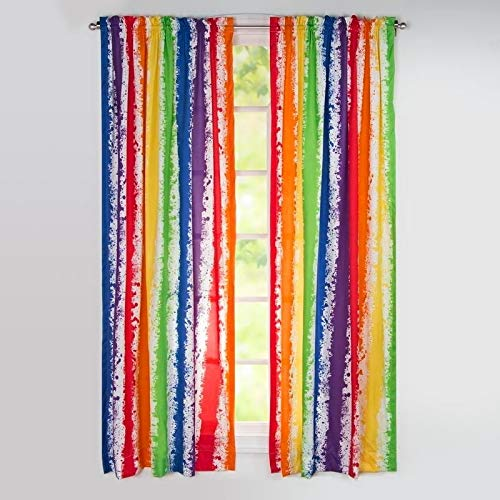 """Overstock Sis Covers Leaning Linens Brain Waves 84"""" Rod Pocket Curtain Panel, Multi-Color"""