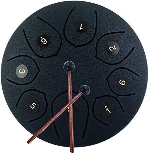 Tambor Clay Clave Percusión Acero Tambor de acero Tambor de tambor de tambor, instrumento Handpan Drum Percussion Instrumentos para principiantes para adultos Niño 6 pulgadas 8 notas Instrumentos de t