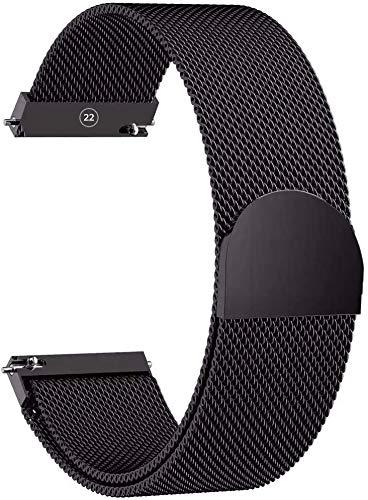 Bracelet de Montre Intense Black [Maille Milanaise 22MM] [Acier Inoxydable] Hommes & Femme - Compatible pour Connectée Samsung Gear, Galaxy, Garmin Fenix, Huawei GT, Xiaomi, TicWatch et Classiques