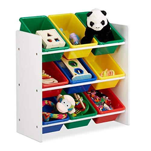 Relaxdays, buntes Kinderregal mit Regalboxen, Aufbewahrungsregal, Spielzeugregal, MDF+Kunststoff, HxBxT 68x65x31cm, M