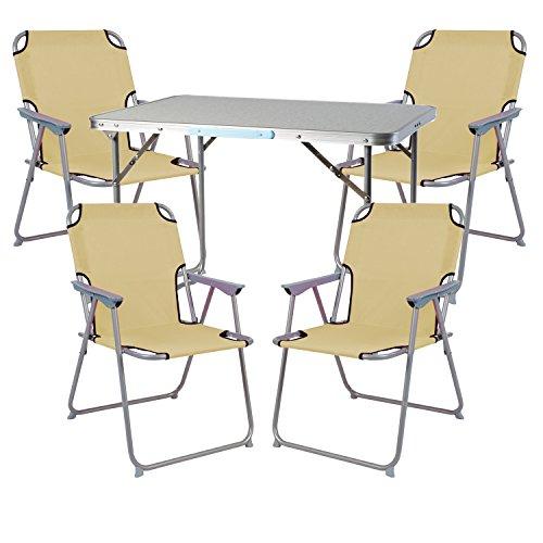 Mojawo Ensemble de meubles de camping en aluminium Camping L70 x B50 x H59 cm 1 x table de camping avec poignée + 4 chaises beige plastique Oxford