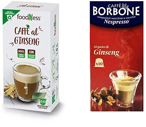 Foodness Capsula Caffè al Ginseng compatibile Nespresso - 10 Confezioni [Tot. 100 Capsule] + OMAGGIO 10 Ginseng Borbone
