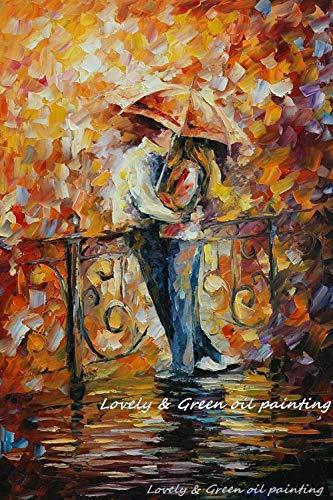LEPOTN Handgemalte abstrakte Liebe und Romantik Gemälde Moderne Spachtel Ölgemälde auf Leinwand Wandkunst für Inneneinrichtungen (48 * 72Inch) 120 * 180cm