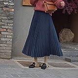 YMKMM Falda De Dos Capas De Otoño Invierno para Mujer Faldas Largas Plisadas Falda A Media Pierna para Mujer Vintage XS Azul Marino