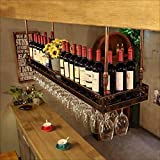 AERVEAL Soporte para Botella Estante para Vino Soporte para Copa de Vino Estante para Copa de Vino Vintage Soporte para Copa de Vino de Hierro Forjado Estante para Vino Colgante Soporte para Copa de