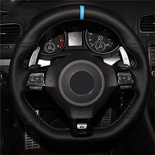 LUOERPI Cubierta del Volante del Coche de Cuero Negro Cosida a Mano, para Volkswagen Golf 6 GTI MK6, para VW Polo GTI Scirocco R Passat CC R-Line 2010