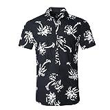 NUTEXROL Hawaiian Shirts Mens Bamboo Print Beach Aloha Party Holiday print2(Black/White), XL
