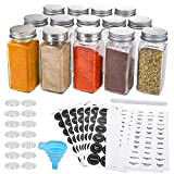 Aozita 14 Pcs Glass Spice Jars with Spice Labels - 4oz Empty Square Spice Bottles - Shaker Lids and Airtight Metal Caps - Chalk Marker and Silicone Collapsible Funnel Included