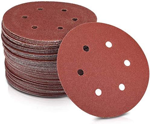 Lepik - Discos de lija (100 unidades, 225 mm de diámetro, 6 agujeros, grano P80)