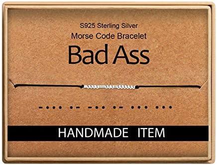 Inspiration Gifts Bad Ass Morse Code Bracelet S925 Sterling Slive Beads On Silk Code Secret product image