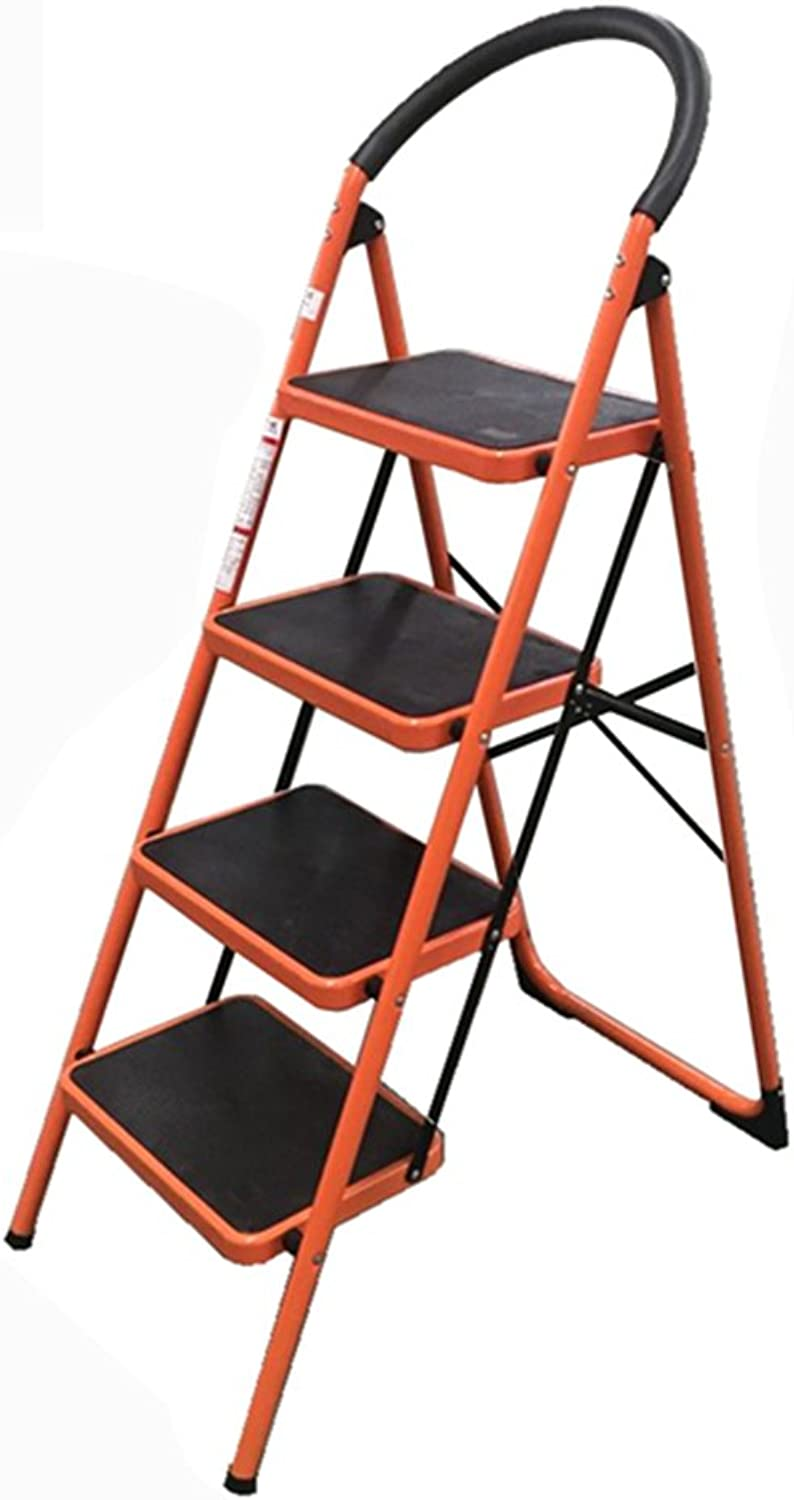 4 Step Ladder Household Chair Dual Use Indoor Four Steps 4-tier Non-slip Pedals Herringbone Folding Ladder (color   orange)