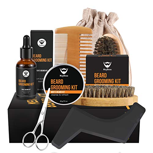Beard Balm Kit MayBeau Beard Grooming Kit for Men-Contains Unscented Beard Balm Beard Oil Beard Comb Beard Brush Scissors Shape Tool and Canvas Bag Perfect Present for Dad Husband