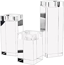 Generic 3X Crystal Tealight Candle Holders, K9 Clear Cubic Candles Holders for Table, Centerpiece Candle Holder Set for Ho...
