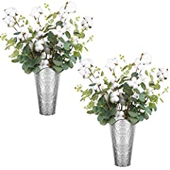 2 SET OF GALVANIZED WALL PLANTERS & 8 COTTON STEMS WITH EUCALYPTUS: This set includes 2 galvanized wall planters and 8 Cottons with Eucalyptus, which will create a distinctive rustic and country sense look and arts feel for home and liven up patio, g...