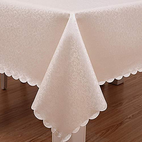 Ahuike Manteles Antimanchas Mantel Rectangular de Antimanchas PU Reutilizable Impermeable Vintage decoración Blanco 120 × 120cm