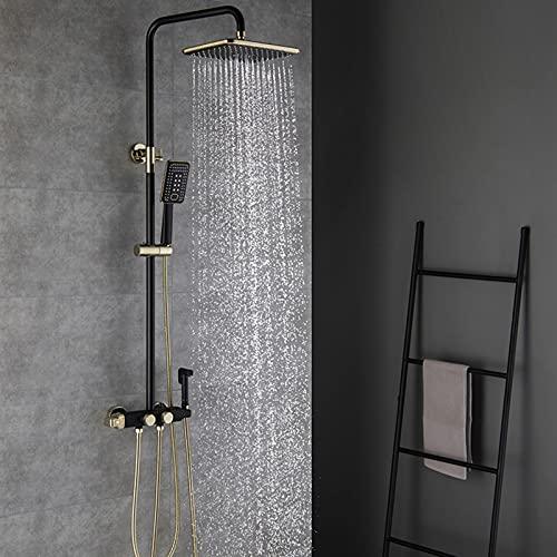 Juego de grifos de ducha, cabezal de ducha tipo lluvia de lujo con rociador de mano, rociador de bidé, juego de grifos termostáticos de pared para bañera, latón macizo,Gold black