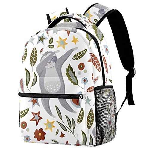 Zaino per borsa da viaggio per passeggiate all'aperto Zaino da scuola per ragazzi e ragazze adolescenti Boy DABBING Sloth Dancing Swag Flowers foglie foglie Zaino stampato