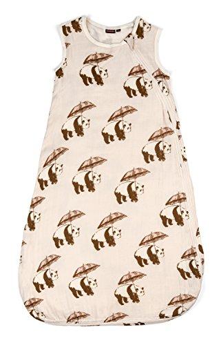 Milkbarn Baby Schlafsack aus Bambus und Baumwolle einlagig Motiv Panda rosa 6-12 Monaten