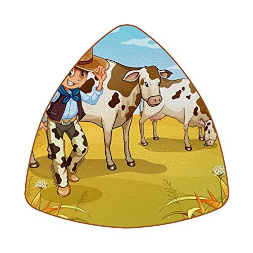 Bennigiry A Cowboy With Two Cows Eating Drink Posavasos resistentes al calor para taza de café y té, juego de 6