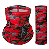Sun UV Dust Protection Windproof Face Scarf Mask Neck Gaiter Bandana for Cycling Fishing Hiking Outdoor Sports (Red Camouflage, One Size)