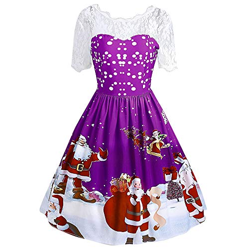 BOLANQ Frauen Kurzarm Abendkleid Retro Print Weihnachten Schneemann Weihnachtsmann Spitze Sexy Casual Dress Eine Linie Schaukel Kleid Karneval Party Kleid(Large,Lila)