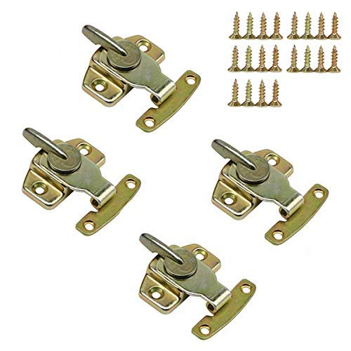 LepoHome 4 Pieces Metal Table Locks Dining Training Table Buckles Connectors Hardware Accessories - Brass Plated