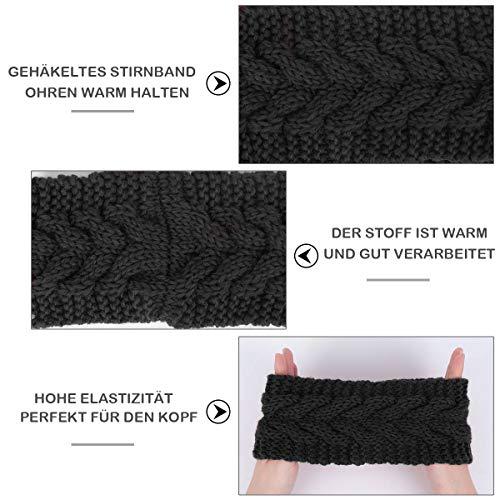 Winter Knitted Headband - Women Chunky Knit Headbands Crochet Braided Hair Band Ear Warmer Crochet Head Wraps Cable Knitted Turban Hairband (Black-1)