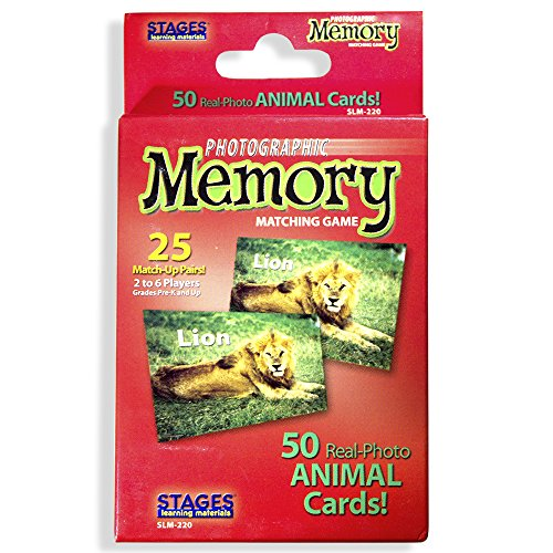 Stages Learning Materials Picture Memory Animal Card Real Photo Concentration Game Red Size 5 x 3