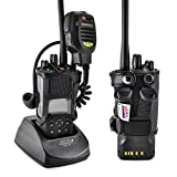 Turtleback Carry Holder for Kenwood 5200 5300 5400 NEXEDGE Radio with D Rings Attachment, Fire and Police Two Way Radio Belt Case, Black Leather Duty Belt Holster with Heavy Duty D Rings, Made in USA