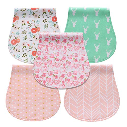 Baby Burp Cloths for Girls, 100% Organic Cotton Absorbent Burp Rags, Soft Burping Cloth, Burp Clothes, Newborn Towel, Excellent Baby Shower/Registry Gift