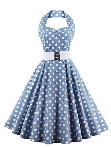VKStar®Retro Chic ärmellos 1950er Audrey Hepburn Kleid/Cocktailkleid Rockabilly Swing Kleid Hellblau XXL