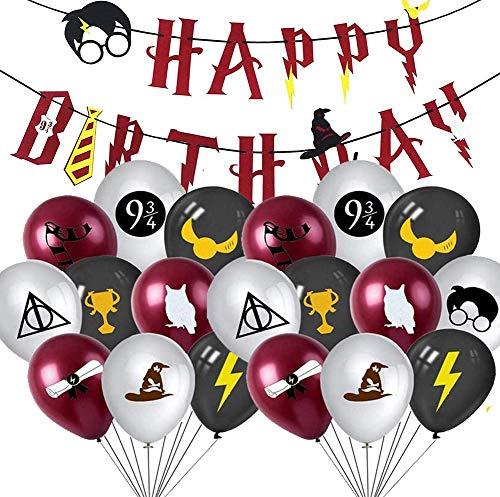 Harrys Potter Party Balloons,PAWT Magicien Articles de fête Décoration Bannière pour Joyeux Anniversaire,Fournitures Magical Wizard School Décorations de fête pour la fête d'anniversaire des enfants