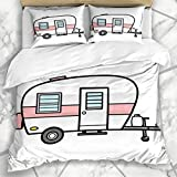 Juegos de Fundas de edredón Remolque Retro Camper Camp Caravana Diseño de Vacaciones Ropa de Cama de Microfibra de Verano con 2 Fundas de Almohada