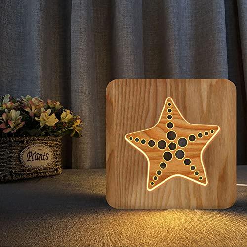 Luz de noche animal, luz nocturna LED tallada de madera animal USB luz nocturna creativa vida marina lámpara de mesa relajante dormitorio de los niños, regalo único para amante, niño, estrella de mar
