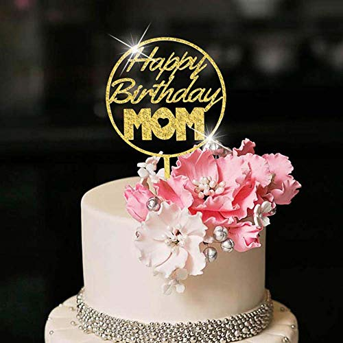 YUINYO Happy Birthday Cake Topper For MOM party, Cake Topper for mama cake topper decorations Happy mother party supplies (Gold Acrylic)